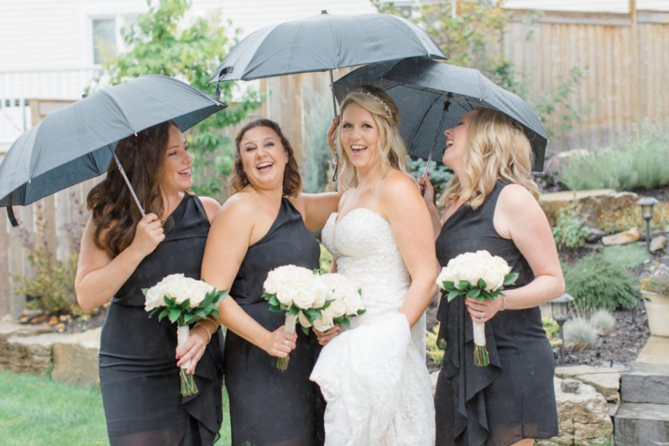 Bride with Bridesmaids - Black and White Theme Wedding - DIY Costco Bouquets - Rainy Wedding Day Bride getting Ready Photos - Romantic Wedding at NeXt in Stittsville - Grey Loft Studio - Ottawa Wedding Photographer - Ottawa Wedding Photo & Video Team