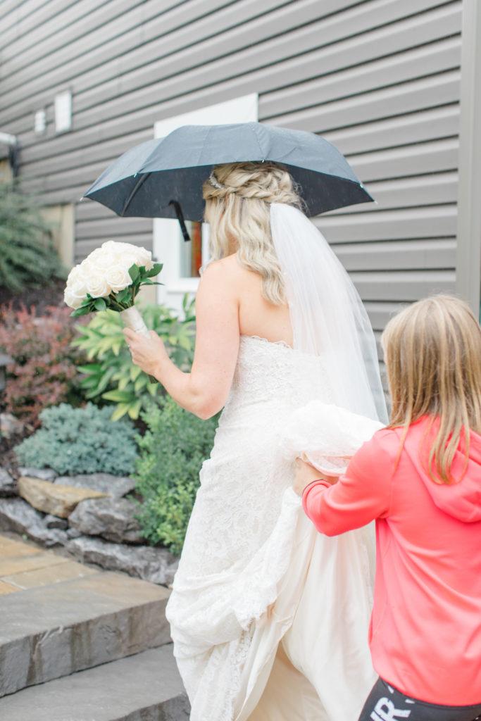 Bride Walking in the Rain - Stittsville