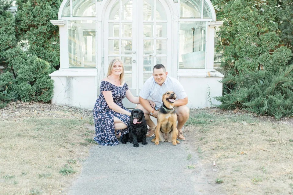 Summer Engagement Session inspiration -Dogs in Photos - Neutrals, Blues, Flowy Dress - Floral Print Navy - Grey Loft Studio - Ottawa Wedding Photographer - Wedding Videographer - Fun, Natural, Bright Photo Video Team. - Photographe - Greyloft - Ottawa Engagement Pictures