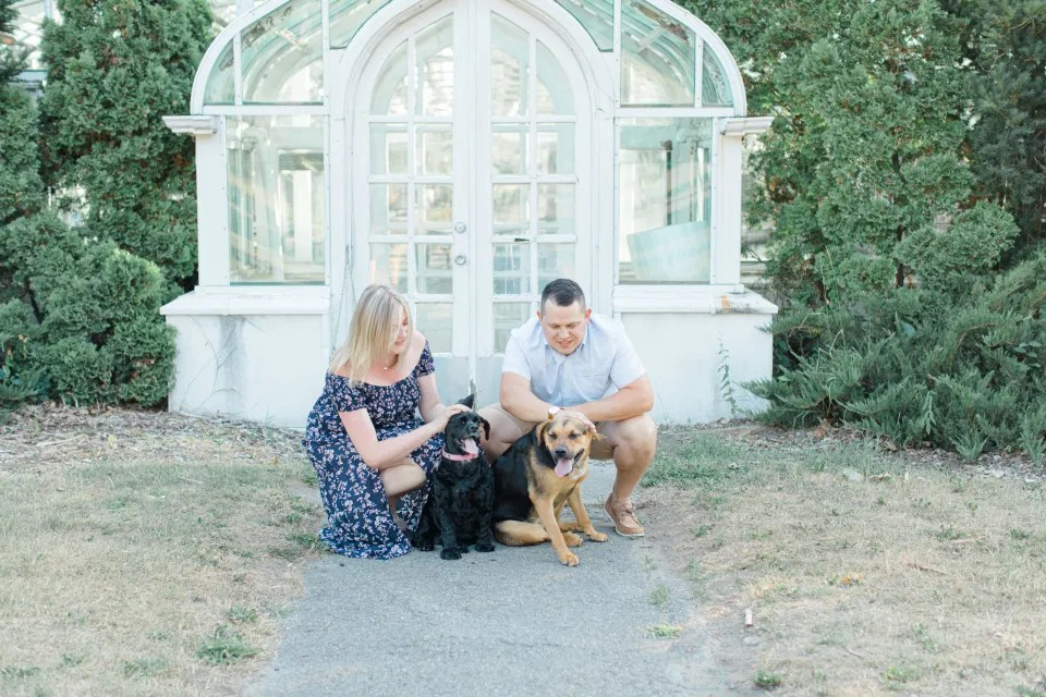 Summer Engagement Session inspiration - Neutrals, Blues, Flowy Dress - Floral Print Navy - Grey Loft Studio - Ottawa Wedding Photographer - Wedding Videographer - Fun, Natural, Bright Photo Video Team. - Photographe - Greyloft - Ottawa Engagement Pictures - dogs in Photos
