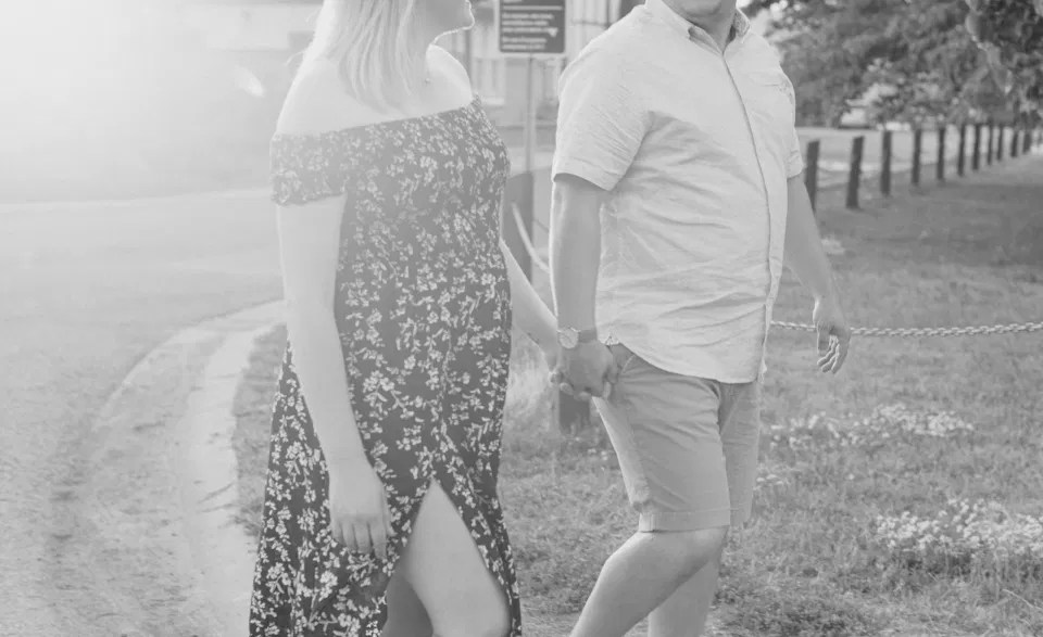 Alway's a cute moment - Summer Engagement Session inspiration - Neutrals, Blues, Flowy Dress - Floral Print Navy - Grey Loft Studio - Ottawa Wedding Photographer - Wedding Videographer - Fun, Natural, Bright Photo Video Team. - Photographe - Greyloft - Ottawa Engagement Pictures