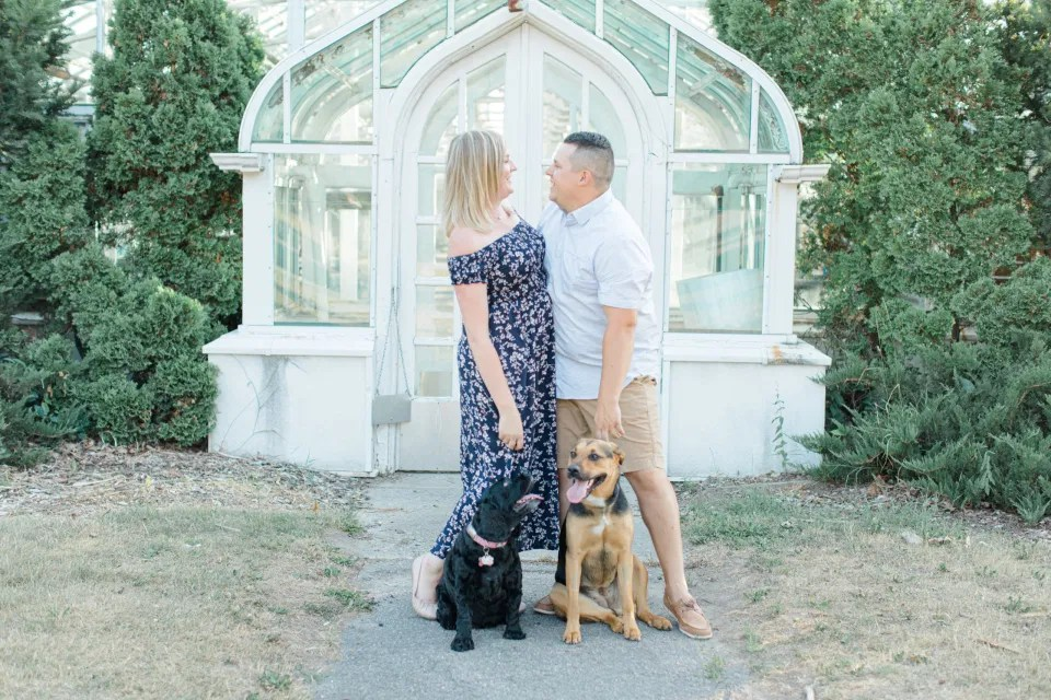 Dogs Posing in Photos - Summer Engagement Session inspiration - Neutrals, Blues, Flowy Dress - Floral Print Navy - Grey Loft Studio - Ottawa Wedding Photographer - Wedding Videographer - Fun, Natural, Bright Photo Video Team. - Photographe - Greyloft - Ottawa Engagement Pictures