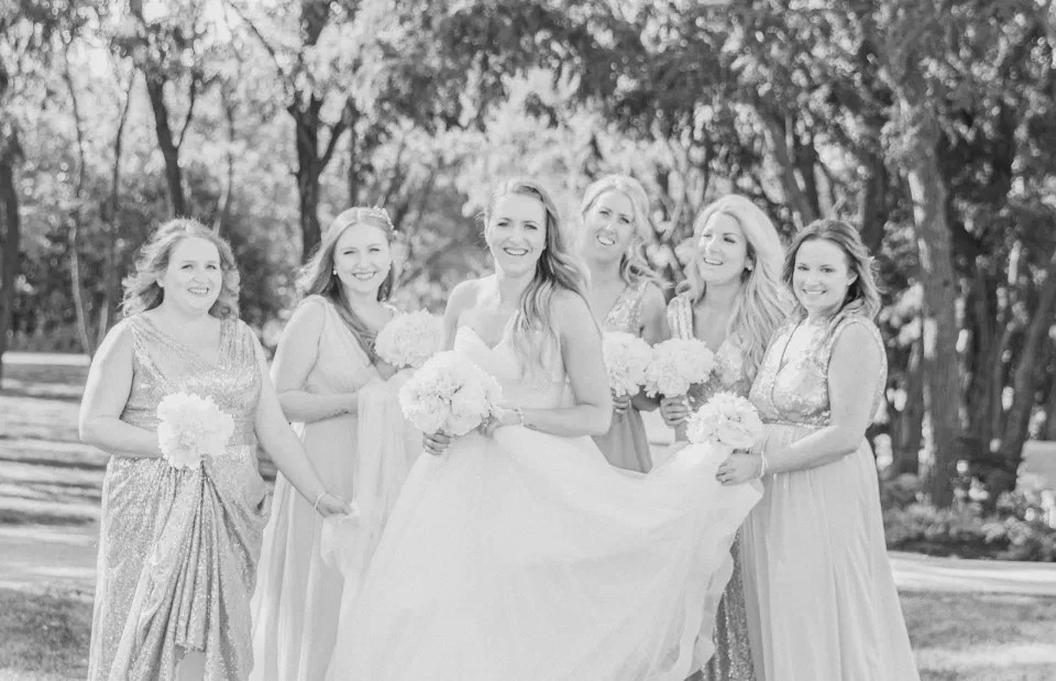 BW - Fun shots with Bridesmaids - Rose Gold Sequinned Dresses -  Stonefields Estate-  Bright and Airy - Natural Wedding Posing - Modern Wedding Blush &. Navy Wardrobe inspiration-  Romantic white with greenery, blush and navy theme. Grey Loft Studio is Stonefields Wedding and Engagement Photographer for Real couples, showcasing photos that are modern, bright, and fun.