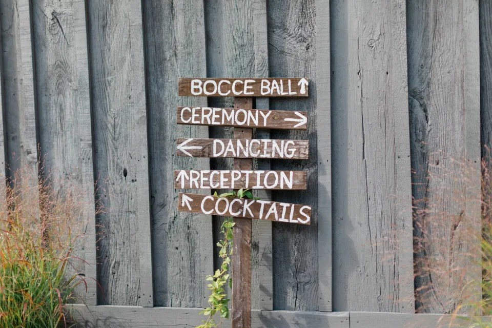 Signs where to Go - Guest entertainment - Outdoor Ceremony With Wooden Modern Brown Wood Chairs. Interlock, beautiful Landscapes at Evermore Weddings and Events, Almonte Ontario - Grey Loft Studio