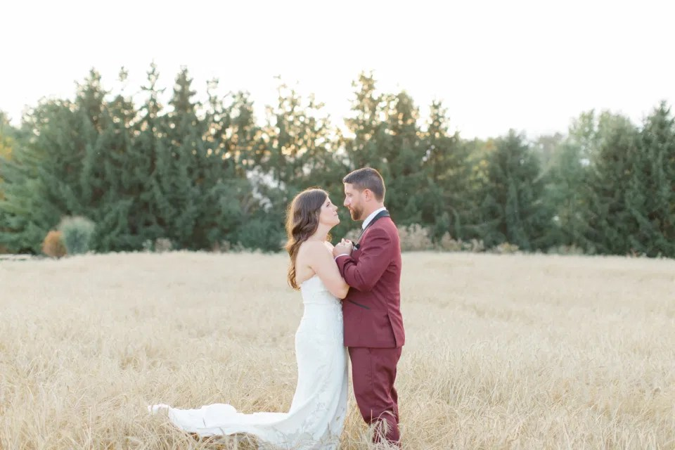 Holding Hands - Bride and Groom Posing at Sunset - Evermore Wedding and Events, Almonte - Grey Loft Studio