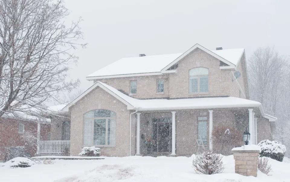 Snowy House on Wedding Day