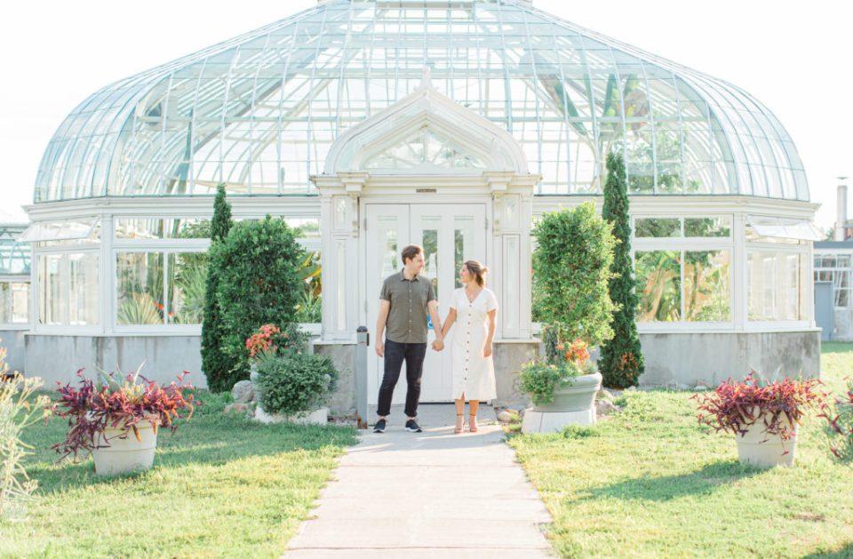 Engagement Session Locations Ottawa - Dominion Arboretum - Summer Engagement - Cute couple wearing neutrals - Long White Dress paired with Tan Heels  - Grey Loft Studio - Ottawa Wedding Photographer