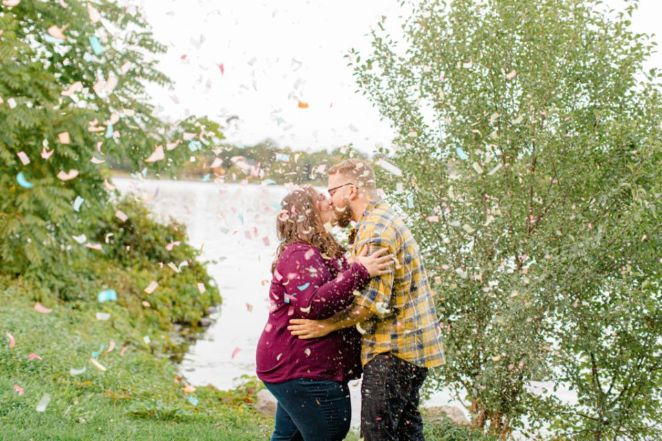 Confetti Kiss during an Session - Ottawa Wedding Photographer - Grey Loft Studio - Wedding in Ottawa -  Photo Session Yellow & Plaid with Burgundy Knit Sweater and Jeans