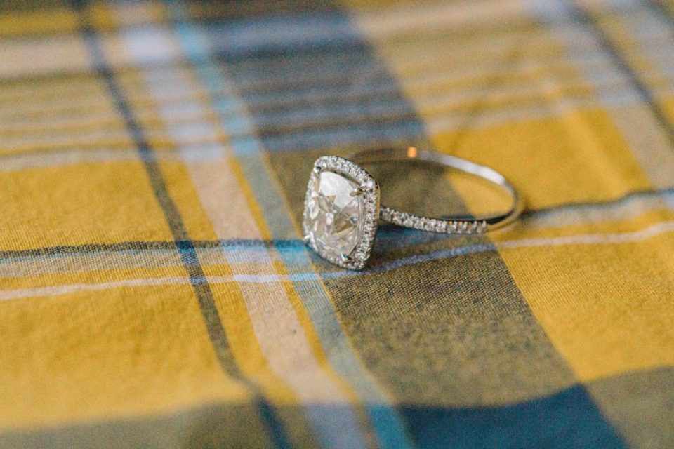 Ring Shot on Yellow Plaid Shirt from  Session - Ottawa Wedding Photographer - Grey Loft Studio - Wedding in Ottawa -