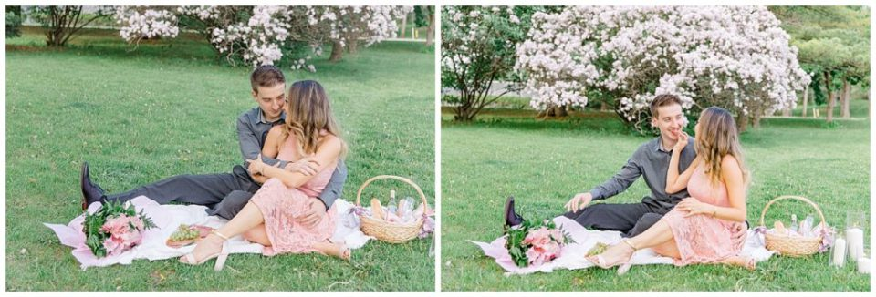 Picnic during Engagement Session at the Arboretum in Ottawa.  Pink & Grey, taupe heels, florals, and a charcuterie board. Grey Loft Studio Wedding Photographers & Videographers.