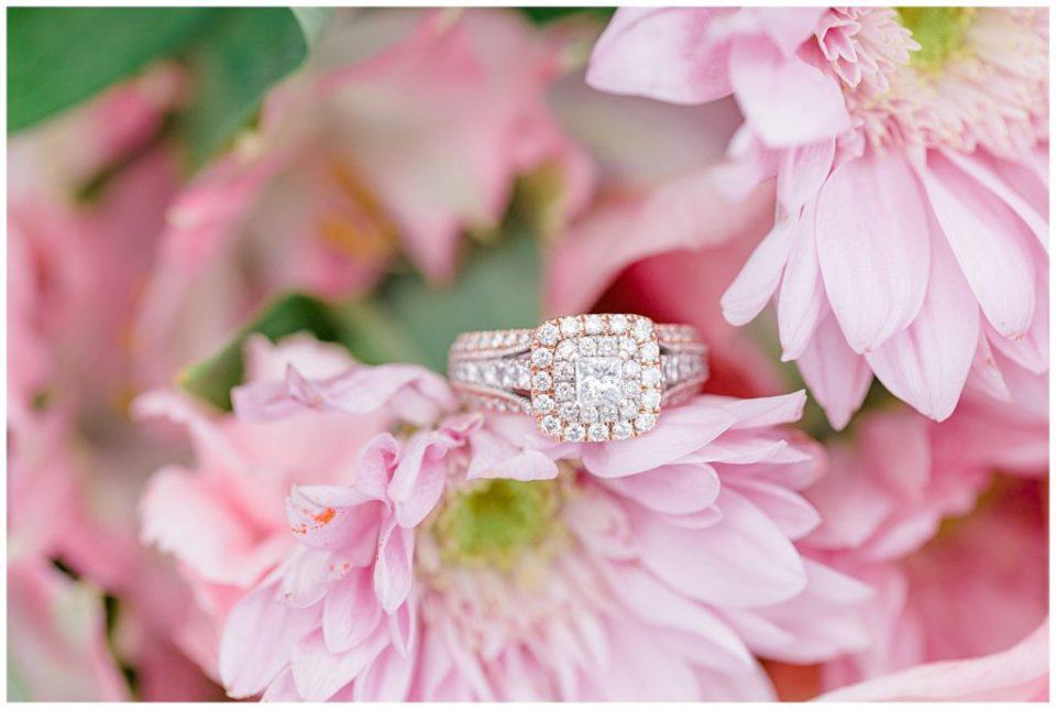 Engagement Ring in Pink Florals - Best Ring Shot - Rose Gold Ring. Grey Loft Studio - Ottawa Wedding Photographer