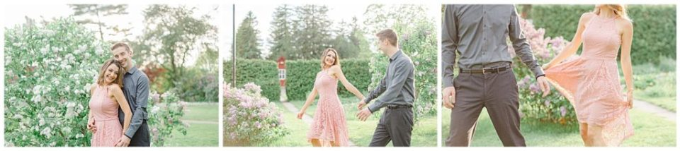Cute couple having fun! Engagement Photo Poses & ideas - during Engagement Session Ottawa - at the Arboretum in Ottawa.  Pink & Grey, taupe heels, florals, and a charcuterie board. Grey Loft Studio Wedding Photographers & Videographers.