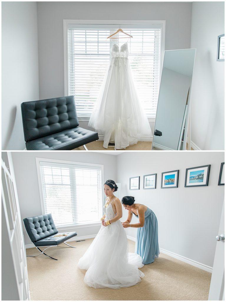 Wedding Dress from China in Window - Lisa & Pat - Grey Loft Studio - Wedding Photo & Video Team - Light and Airy - Ottawa Wedding Photographer & Videographer