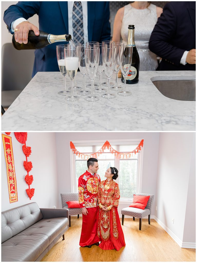 Bride & Groom to be in Chinese Ceremonial Gowns. Lisa & Pat - Grey Loft Studio - Wedding Photo & Video Team - Light and Airy - Ottawa Wedding Photographer & Videographer