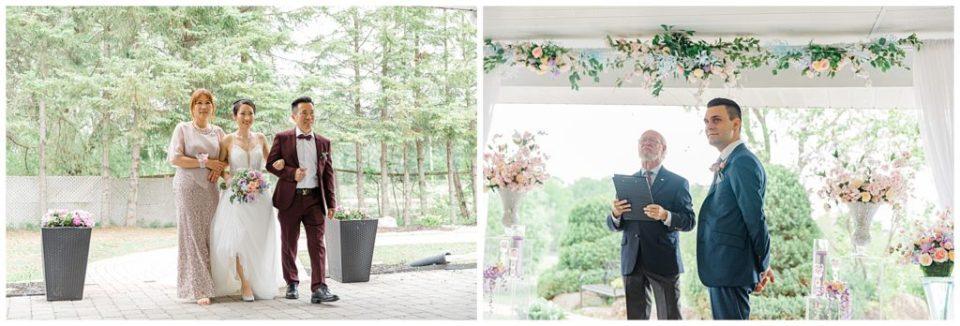Walking down the aisle, groom sees his bride - Lisa & Pat - Grey Loft Studio - Wedding Photo & Video Team - Light and Airy - Ottawa Wedding Photographer & Videographer