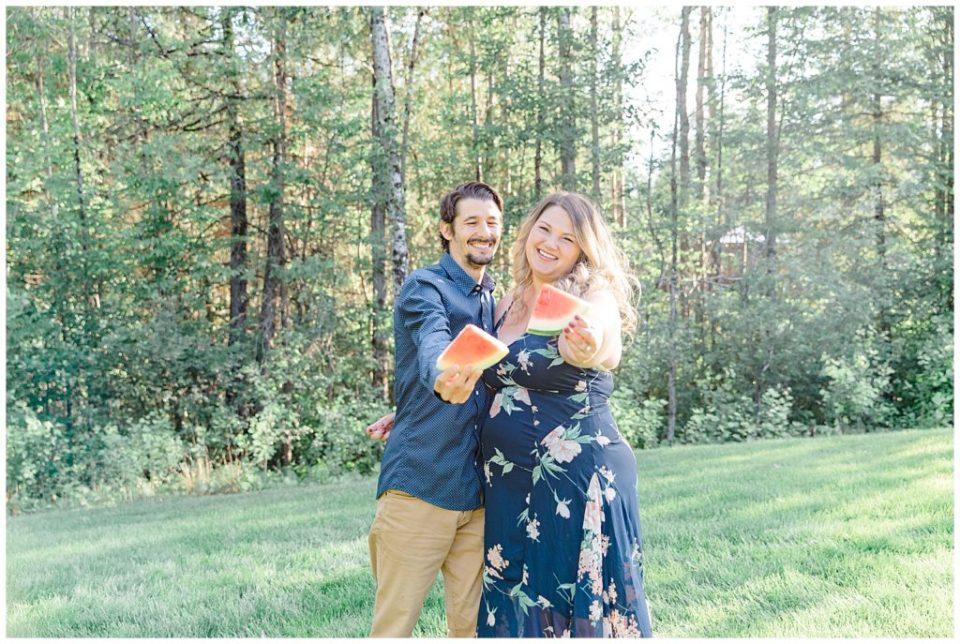 Watermelon Prop - Engagement Session Sunset Engagement Session - Backyard Carp - Engagement Photo - Ottawa Wedding Photographer - Grey Loft Studio