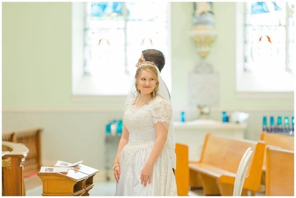Bride smiling at family - St Clements Parish Ottawa - Wedding Day - Grey Loft Studio - Wedding Photographer