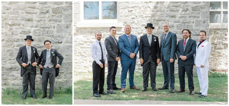 Groom and Groomsmen before the ceremony - St Clements Parish Ottawa - Wedding Day - Grey Loft Studio - Wedding Photographer
