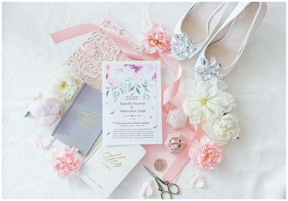 Le Chateau Wedding Shoes - Styling flatlay ideas - Wedding Flatlay with Wedding Shoes & real florals - Grey Loft Studio