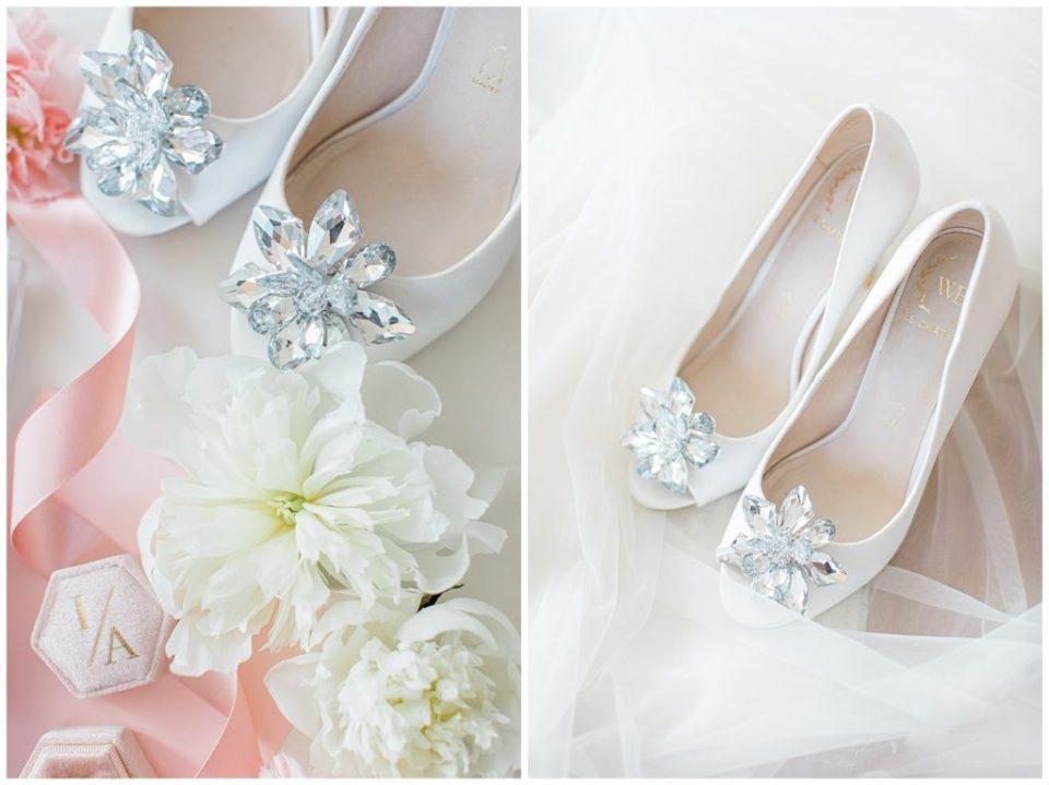 Le Chateau Wedding Shoes - Styling flatlay ideas - Wedding Flatlay with Wedding Shoes & real florals