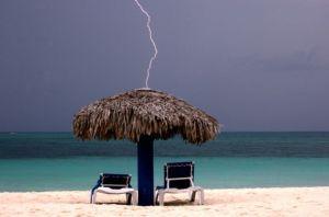 Beach Hut Lightning Strike