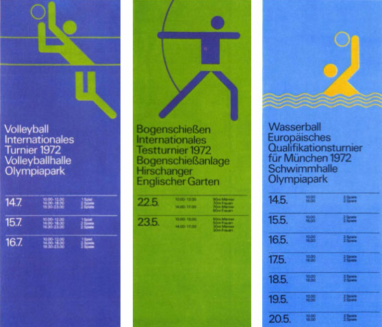Otl Aicher - 1972 Munich Olympics event schedules