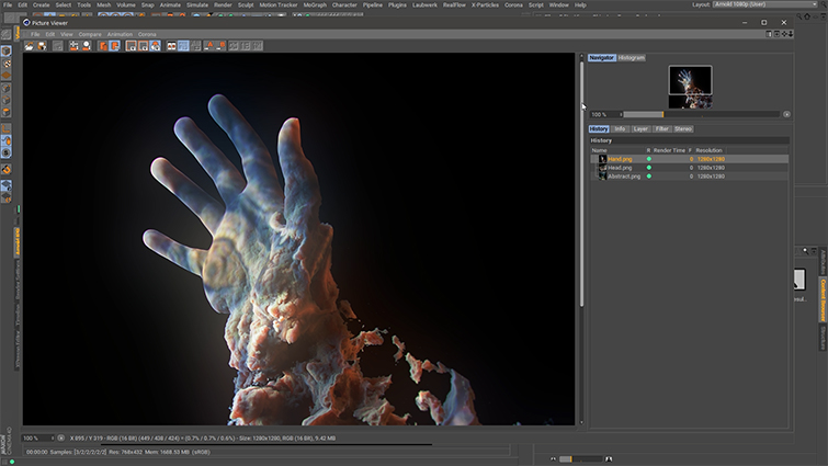 Using Volume Displacement in Cinema 4D and Arnold - Hand