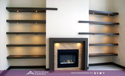 contemporary modern fireplace and floating shelves
