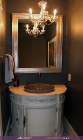traditional bathroom half bath crystal chandelier