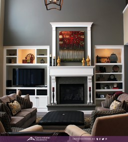 traditional fireplace and family room white molding built-ins granite hearth surround