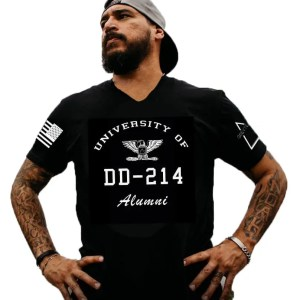 grey team dd-214 university v-neck t-shirt