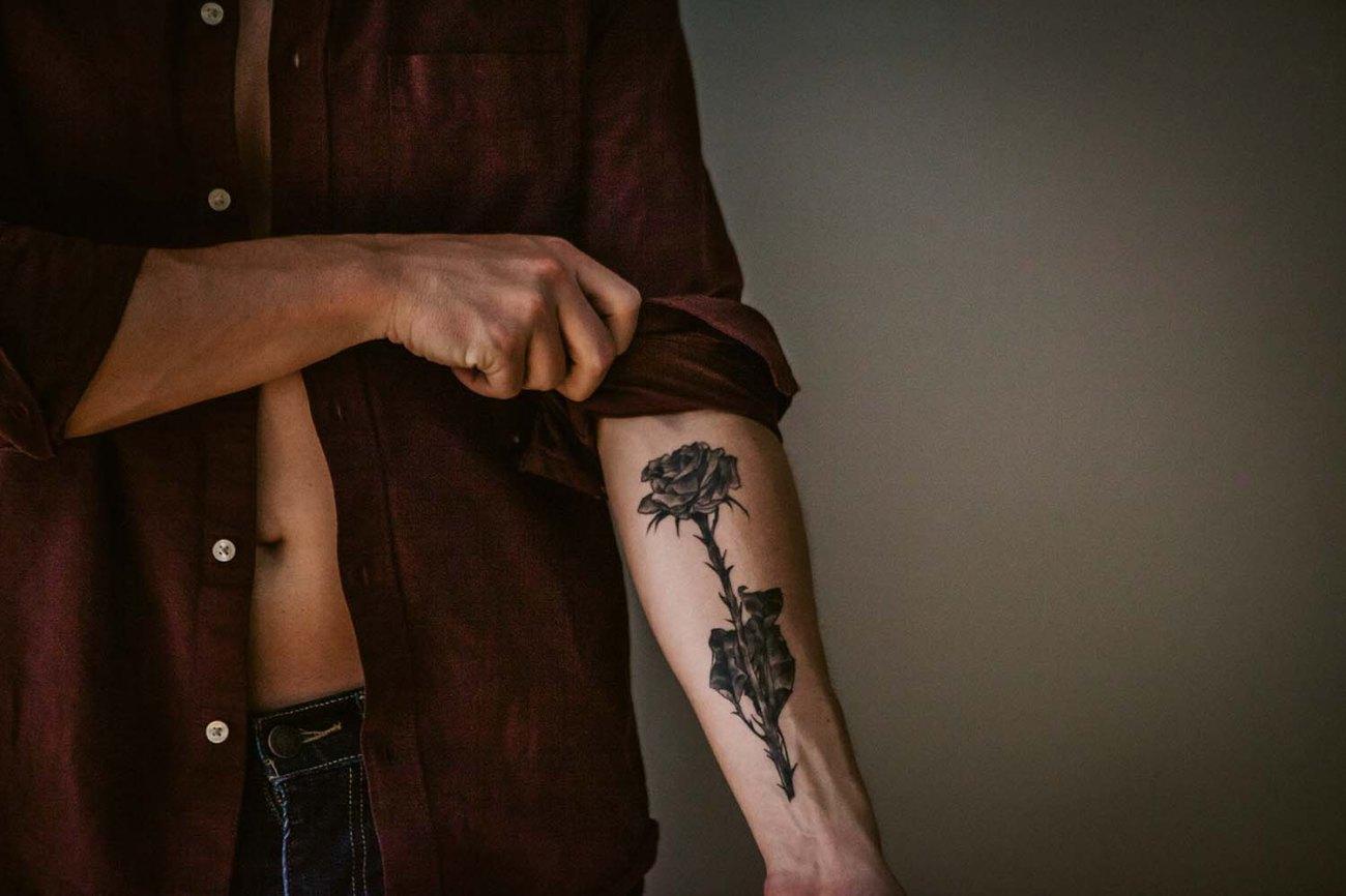 Austin's Studio Portrait shoot, black rose tattoo detail