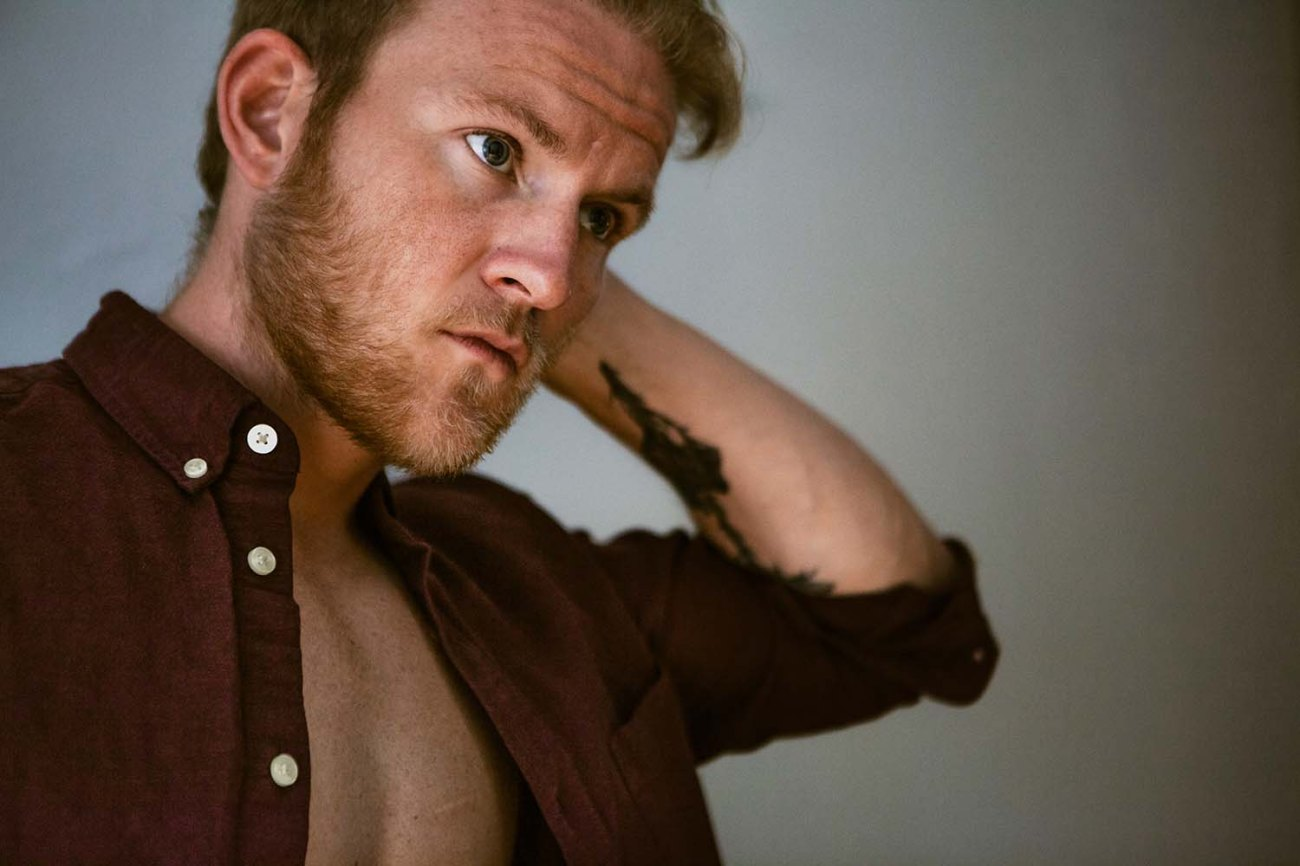 Austin's Studio Portrait shoot, maroon red shirt, male model