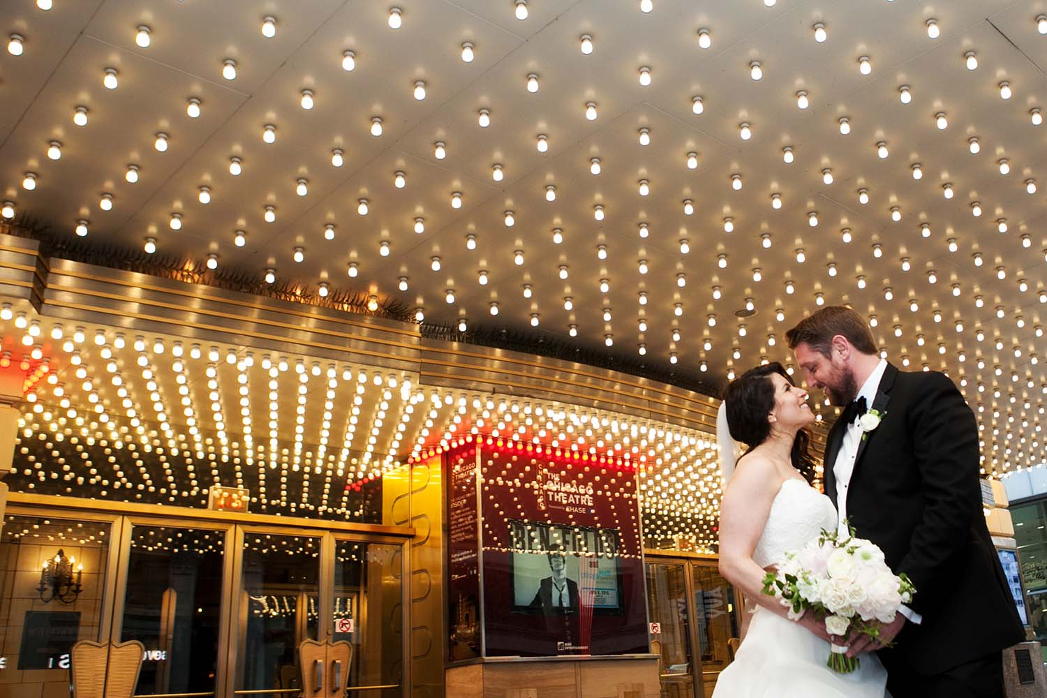 Bride Groom Portrait Chicago Theater Marquee