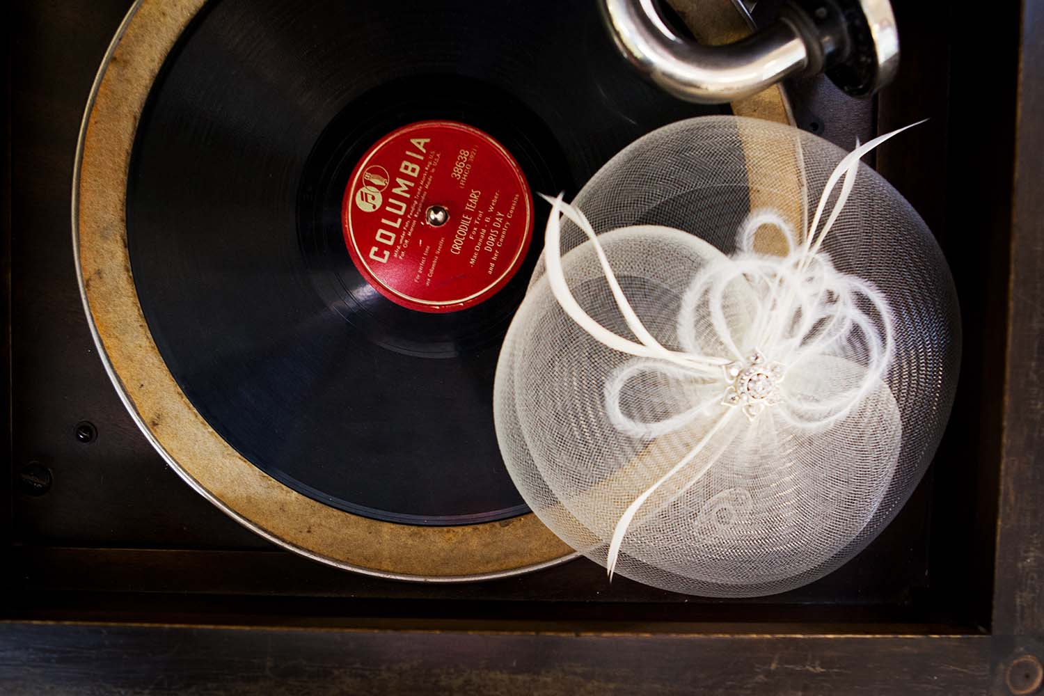 Brides Top Hat Vintage Record Player Minneapolis Wedding Photogr