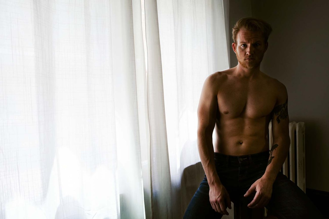 Dark moody Male Intimate Portrait Minneapolis, Boudoir Photographer, dudoir, guy, man, natural light, window