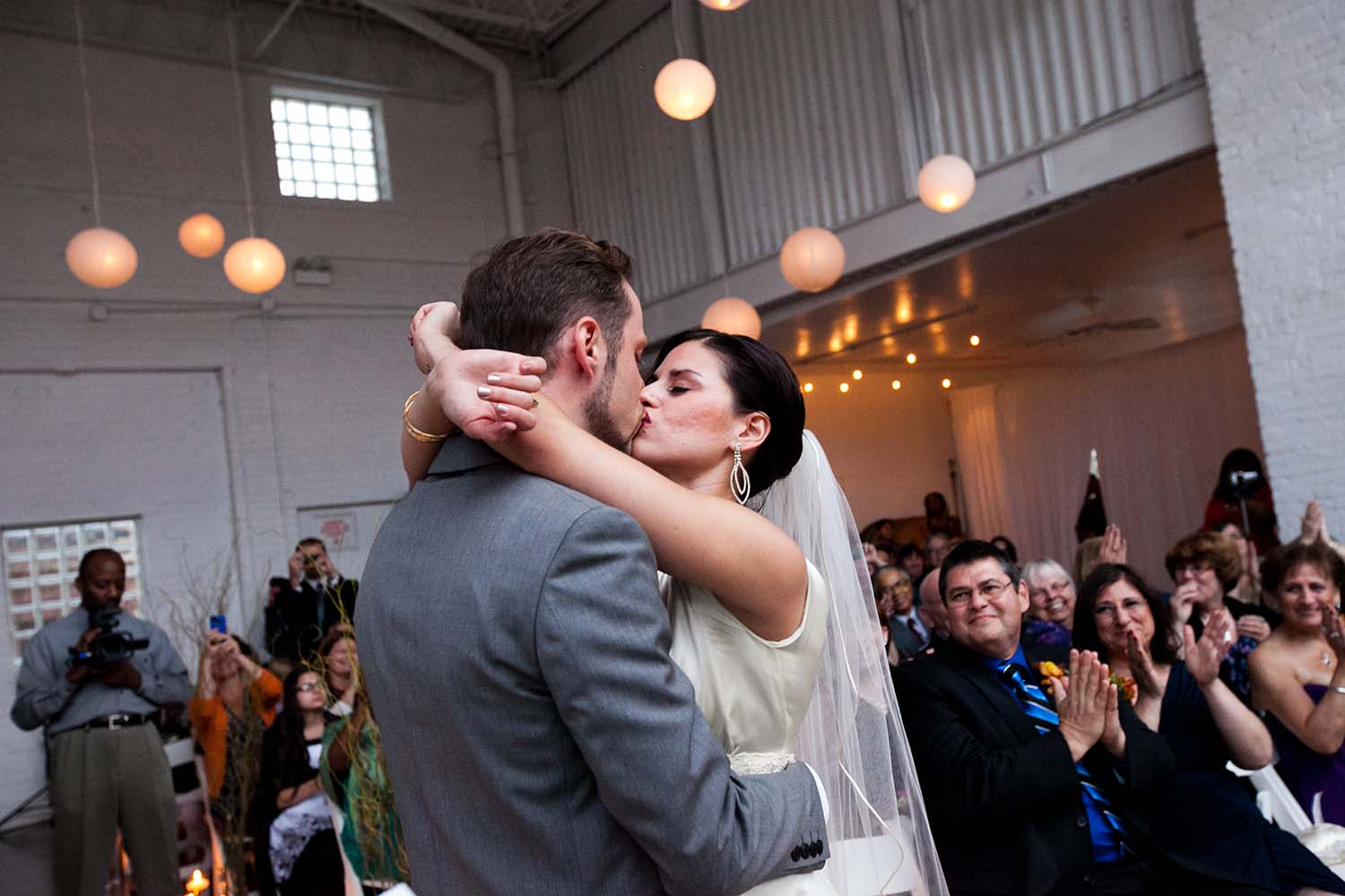 First Kiss Wedding Ceremony Prairie Productions Chicago