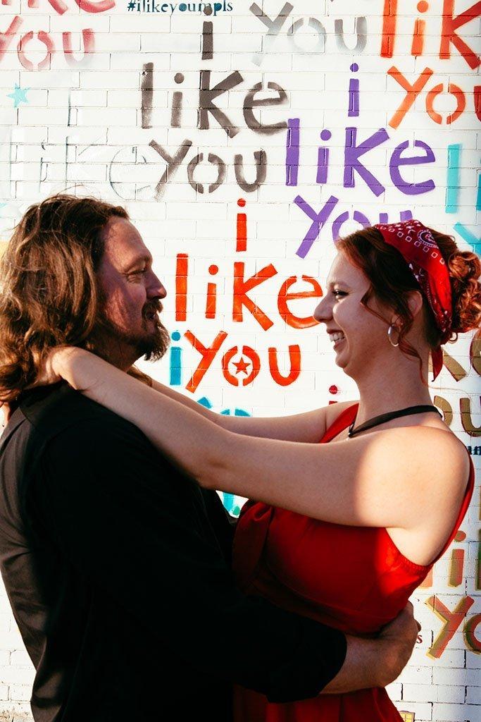 I Like You Graffiti Wall MPLS Engagement Photographers, Minneapolis Wedding Photographers, Minnesota Engagement Photographer, Midwest Engagement Photography, Saint Paul, graffiti wall