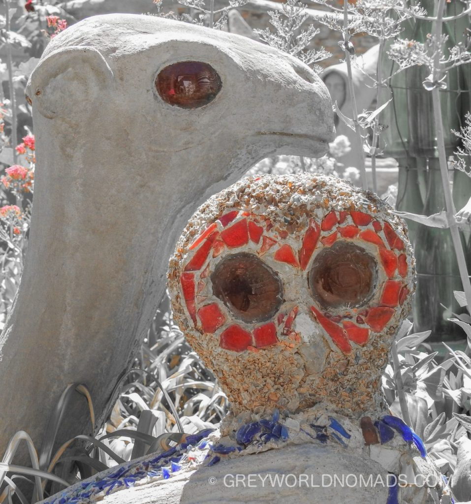 In the remote, little Karoo town of Nieu-Bethesda the Owl House with it's unconventional art is outstanding. Helen Martin was an exceptional artist.