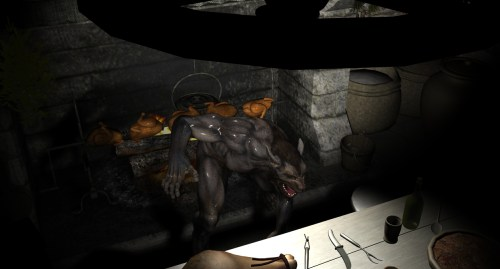 G'narl drying off his gnoll butt in the tavern. Don't fancy those chickens.