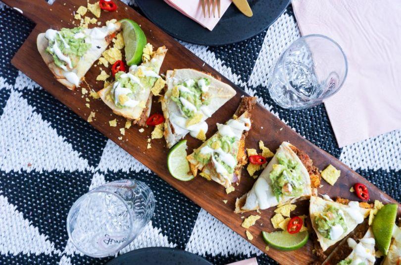 Tortillur með nautahakki, mexíkóosti og nachos