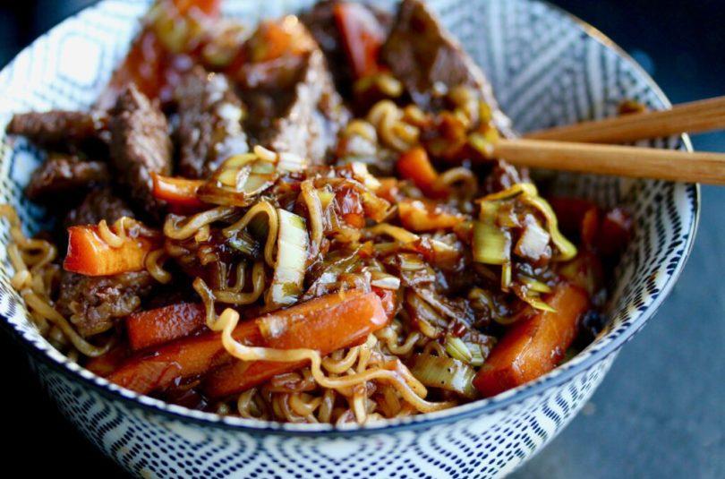 Heimsins besta wok með nautakjöti og núðlum