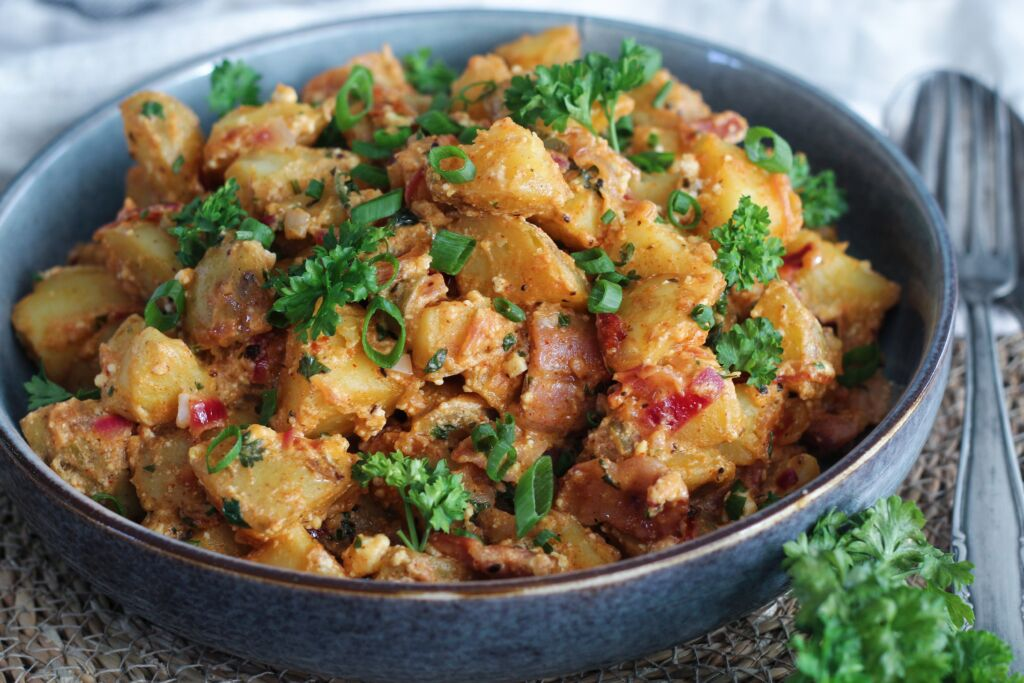 Heitt kartöflusalat með beikoni og fetaosti
