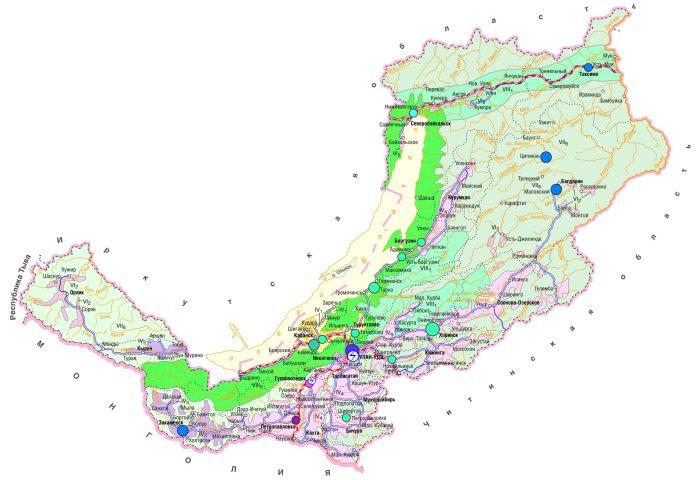 Карта Бурятии.