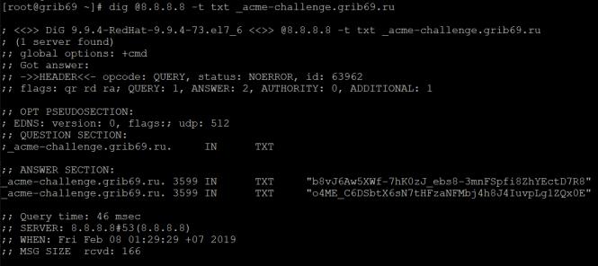 Установка бесплатного SSL wildcard сертификата Let's Encrypt на CentOS 7 и автоматизация его обновлений