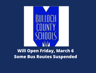 Bulloch Schools Will Open Friday Bus Service Interrupted