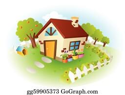 House Garden Clip Art Royalty Free GoGraph