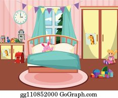 Girls Bedroom Clip Art Royalty Free GoGraph