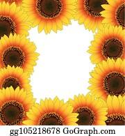 sunflower border clip art - royalty
