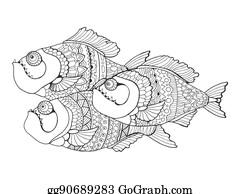 Vektorkunst - Koi karpfen fische ausmalbilder für